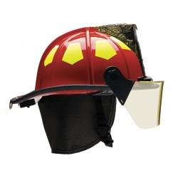 Bullard - US6RD6L - Red Fire Helmet with TrakLite, Shell Material: Fiberglass, 6-Point Sure-Lock Ratchet Suspension, Fi