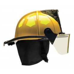 Bullard - US6YL6L - Yellow Fire Helmet with TrakLite, Shell Material: Fiberglass, 6-Point Sure-Lock Ratchet Suspension,
