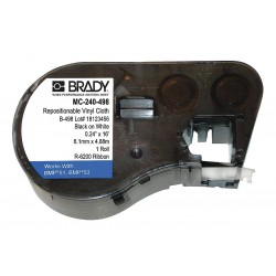 Brady - MC-240-498 - Black on White Vinyl Cloth Label Tape Cartridge, Narrow Width Label Type, 16 ft. Length, 15/64 Widt