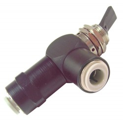Pneumadyne - F11-30-66 - 2.54L Aluminum / Brass 3-Way, Push-In Toggle Valve with Spring Return Toggle Handle