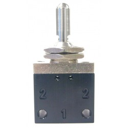 Pneumadyne - C042601 - 3.03L Aluminum / Brass 2-Way, 3 Position, FNPT Toggle Valve with Detented Metal Toggle Handle