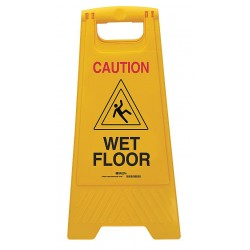 Brady - 104809 - Brady 24 1/2 Black/Red On Yellow Polypropylene Floor Safety Sign WET FLOOR, ( Each )