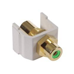 Hubbell - SFRCBFFOW - AV Connector, RCA Gold Pass-Thru, F/F Coupler, Office White/Blue Insulator