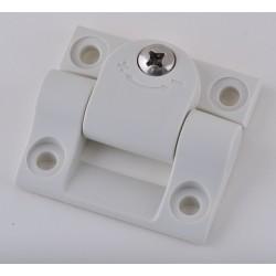 Elesa - CFU.60 CH-6 CLEAN - Cleanroom Hinge With Holes, White Enamel Finish, Square Corners, 53/64 x 2-7/32