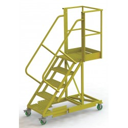 Tri Arc - UCS500520246 - Supported 5-Step Cantilever Rolling Ladder, Perforated Step Tread, 92 Overall Height