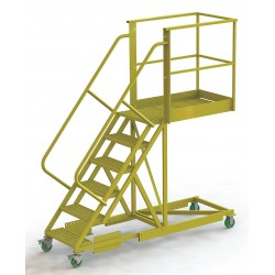 Tri Arc - UCS500640246 - Supported 6-Step Cantilever Rolling Ladder, Perforated Step Tread, 102 Overall Height