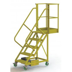 Tri Arc - UCU500520246 - Unsupported 5-Step Cantilever Rolling Ladder, Perforated Step Tread, 92 Overall Height