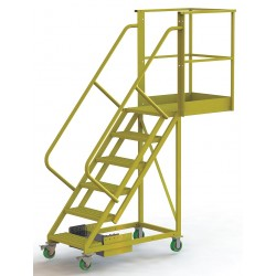 Tri Arc - UCU500630246 - Unsupported 6-Step Cantilever Rolling Ladder, Perforated Step Tread, 102 Overall Height