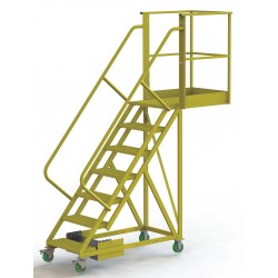 Tri Arc - UCU500730246 - Unsupported 7-Step Cantilever Rolling Ladder, Perforated Step Tread, 112 Overall Height