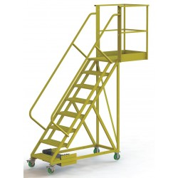 Tri Arc - UCU500830246 - Unsupported 8-Step Cantilever Rolling Ladder, Perforated Step Tread, 122 Overall Height
