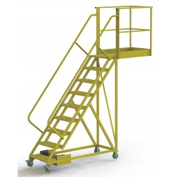 Tri Arc - UCU500940246 - Unsupported 9-Step Cantilever Rolling Ladder, Perforated Step Tread, 132 Overall Height