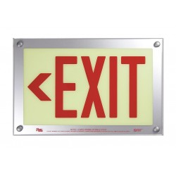 Safe Glow - DEL-06R-TS - Exit and Entrance, Aluminum, Plastic, 9-11/32 x 14-15/32, T-Bar