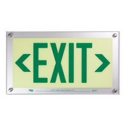 Safe Glow - BDE-06G-CS - Exit and Entrance, Aluminum, Plastic, 9-11/32 x 16-3/4, T-Bar