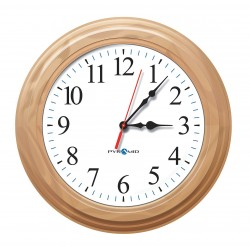 Pyramid Technologies - S9A6AUGBBO - 16-1/2 Round Wall Clock Arabic, Wood Grain Wood Frame