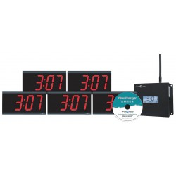 Pyramid Technologies - WSCBD-5 - 4-1/2 x 11-1/2 Rectangle LED Wall Clock, Black ABS Plastic Frame