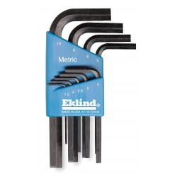 Eklind Tool - 11509 - Short L-Shaped Metric Natural Hex Key Set, Number of Pieces: 9