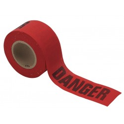 Brady - 91084 - Brady 3 X 50 Yd Black/Red 3 mil Cotton Biodegradable Barricade Tape DANGER, ( Roll )