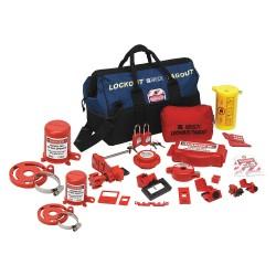 Brady - 99690 - Portable Lockout Kit, Filled, Electrical/Valve Lockout, Duffel Bag, Black, Blue