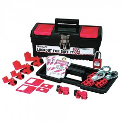 Brady - 105964 - Portable Lockout Kit, Filled, Electrical Lockout, Tool Box, Black