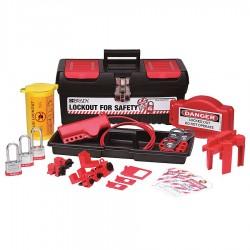 Brady - 105956 - Portable Lockout Kit, Filled, Electrical/Valve Lockout, Tool Box, Black