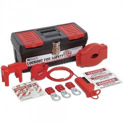 Brady - 105957 - Portable Lockout Kit, Filled, Electrical/Valve Lockout, Tool Box, Black