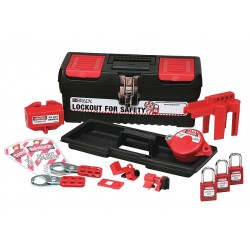 Brady - 104795 - Portable Lockout Kit, Filled, Electrical/Valve Lockout, Tool Box, Black