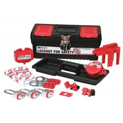 Brady - 104796 - Portable Lockout Kit, Filled, Electrical/Valve Lockout, Tool Box, Black