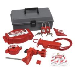 Brady - 99321 - Portable Lockout Kit, Filled, Valve Lockout, Tool Box, Gray