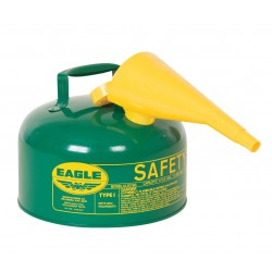 Eagle Mfg - UI-20-FSG - Eagle 2 Gallon Green 24 Gauge Galvanized Steel Type I Safety Can With Non-Sparking Flame Arrestor, F-15 Funnel And Hose, ( Each )