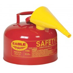Eagle Mfg - UI-25-FS - Eagle 2 1/2 Gallon Red 24 Gauge Galvanized Steel Type I Safety Can With Non-Sparking Flame Arrestor And F-15 Funnel, ( Each )