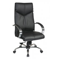 Office Star Products - 8200 - Black Leather Executive Chair 30 Back Height, Arm Style: Fixed