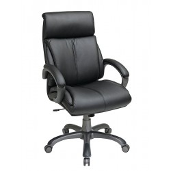 Office Star Products - ECH68807-EC3 - Black Eco Leather Executive Chair 25-3/4 Back Height, Arm Style: Fixed