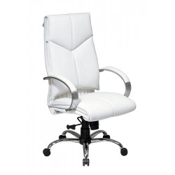 Office Star Products - 7270 - White Leather Executive Chair 30 Back Height, Arm Style: Fixed