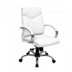 Office Star Products - 7271 - White Leather Executive Chair 21 Back Height, Arm Style: Fixed
