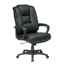 Office Star Products - EX5162-G13 - Black Soft Leather Executive Chair 26-1/2 Back Height, Arm Style: Fixed