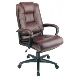Office Star Products - EX5162-4 - Burgundy Soft Leather Executive Chair 26-1/2 Back Height, Arm Style: Fixed