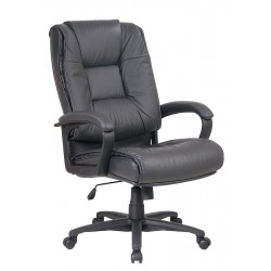 Office Star Products - EX5162-G12 - Dark Gray Soft Leather Executive Chair 26-1/2 Back Height, Arm Style: Fixed