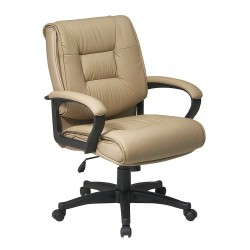 Office Star Products - EX5161-G11 - Tan Soft Leather Desk Chair 22-1/2 Back Height, Arm Style: Fixed
