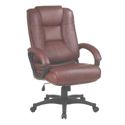 Office Star Products - EX5162-G8 - Saddle Soft Leather Desk Chair 26-1/2 Back Height, Arm Style: Fixed