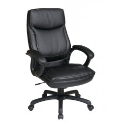 Office Star Products - EC6582-EC3 - Black Eco Leather Executive Chair 30 Back Height, Arm Style: Fixed
