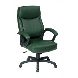 Office Star Products - EC6583-EC16 - Green Eco Leather Executive Chair 30 Back Height, Arm Style: Fixed