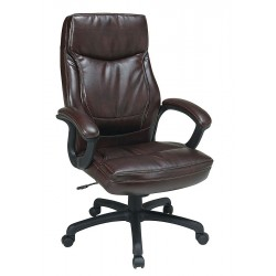 Office Star Products - EC6582-EC9 - Mocha Eco Leather Executive Chair 30 Back Height, Arm Style: Fixed