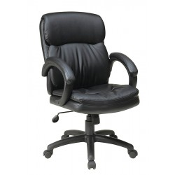 Office Star Products - EC9231-EC3 - Black Eco Leather Executive Chair 21-1/2 Back Height, Arm Style: Fixed