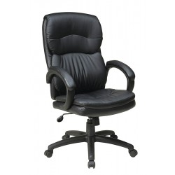 Office Star Products - EC9230-EC3 - Black Eco Leather Executive Chair 25-1/2 Back Height, Arm Style: Fixed