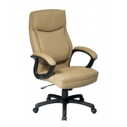 Office Star Products - EC6583-EC21 - Tan Eco Leather Executive Chair 30 Back Height, Arm Style: Fixed