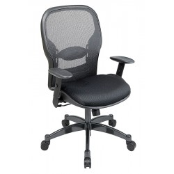 Office Star Products - 2300 - Black Mesh Managers Chair 24-1/2 Back Height, Arm Style: Adjustable