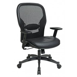 Office Star Products - 2400E - Black Mesh Managers Chair 24-1/2 Back Height, Arm Style: Adjustable