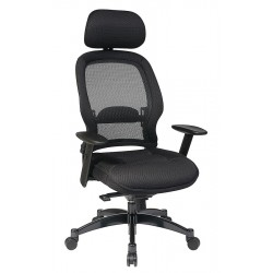 Office Star Products - 25004 - Black Mesh Managers Chair 24 Back Height, Arm Style: Adjustable