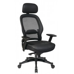Office Star Products - 27008 - Black Mesh Managers Chair 24 Back Height, Arm Style: Adjustable