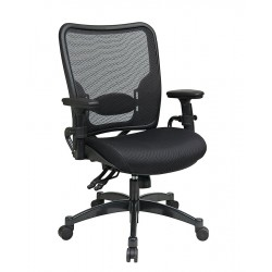 Office Star Products - 6806 - Black Mesh Managers Chair 24 Back Height, Arm Style: Adjustable